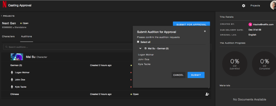 Casting Approval Tool: Features and Workflow – Netflix   Partner