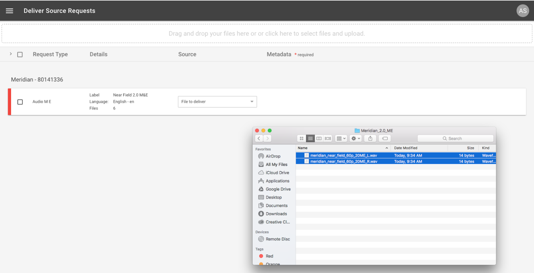5 This Will Direct To The Source Delivery Ui, Which You Can Drag And Drop  Files To Upload
